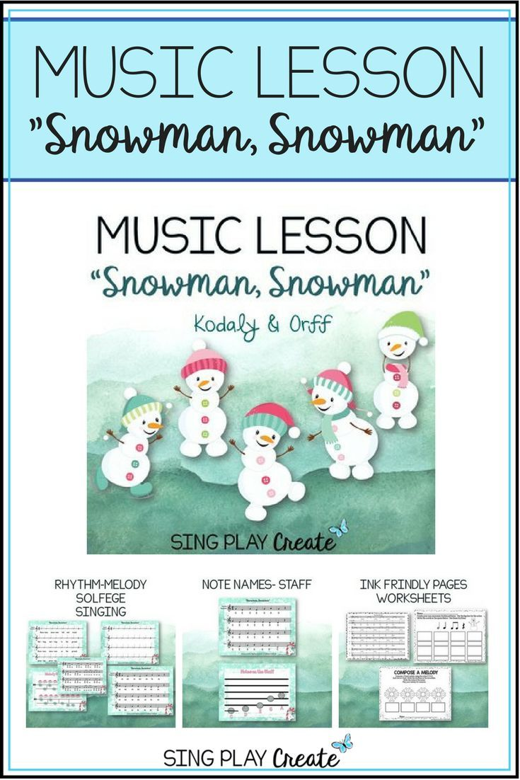 """Music Lesson """"Snowman, Snowman"""" a fun Kodaly and Orff winter movement and learning song with solfege, and orff instrument parts for K-3 students. Lessons and Worksheets in color and black and white. Mp3 Vocal and Accompaniment tracks for easy teaching. Build students singing and playing skills in one fun and easy lesson that can be spread out over 4 class periods."""