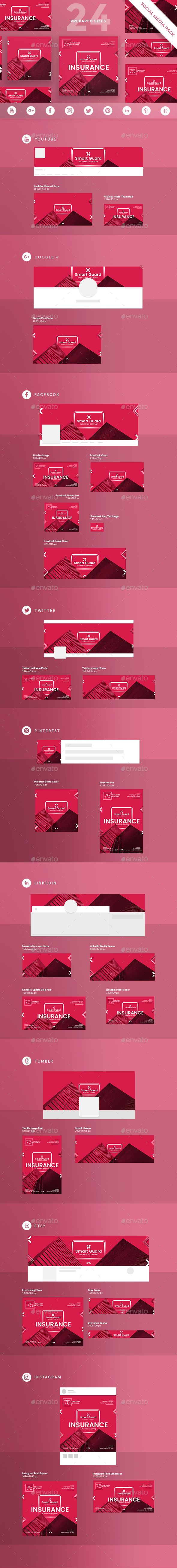 Insurance Company Social Media Pack A beautiful multipurpose Social Media Pack for designers, entrepreneurs, creators and businesses to inform and promote themselves through platforms like Twitter, Facebook, Instagram, Youtube, LinkedIn and more.