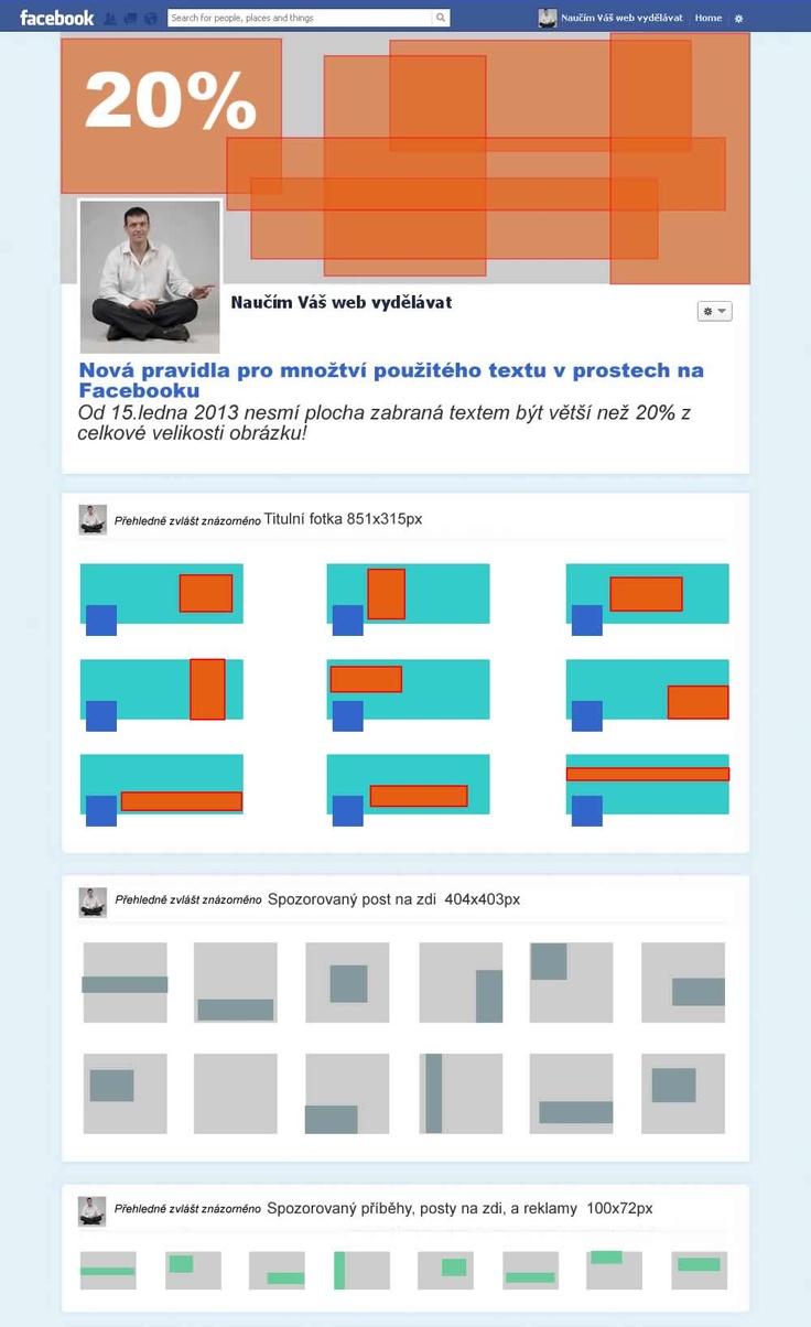 Jak určitě už víte od 15 ledna platí nové pravidlo pro používání textu v grafice u tří nejběžnějších typů reklam Facebooku včetně titulního obrázku (i když to není reklama)