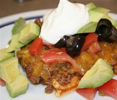 TACO BAKE - This makes a cream cheese crust, then adds a topping of a ground beef mixture, after all is baked, adding all of your optional toppings such as lettuce, sour cream, etc (carb counts are listed for each ingredient)  / Linda's Low Carb Menus & Recipes