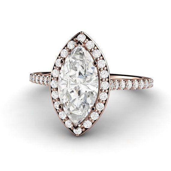 Marquise Halo Engagement Ring Forever Brilliant Moissanite 14K or Palladium Diamond Halo Moissanite Ring Conflict Free Custom Bridal Jewelry on Etsy, $1,955.00