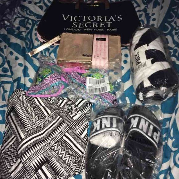 NWT Victoria Secret Beach Stuff PINK/ VS beach stuff black and white towel, black and white beach pants L, reversible swim top L, Victoria Secret Tote and black & white slides S and fun in the sun kit(beauty rush flavored gloss, all over refresher mist, heavenly summer rollerball, small coin purse and reusable golden bag. *Price firm/No holds/No trades/ No separates* PINK Victoria's Secret Accessories