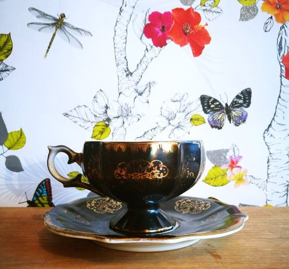Antique demitasse cup and saucer set 4, Antique chocolate cup and saucer set, Antique tea cup and saucer set, Black gold hand painted  c1890