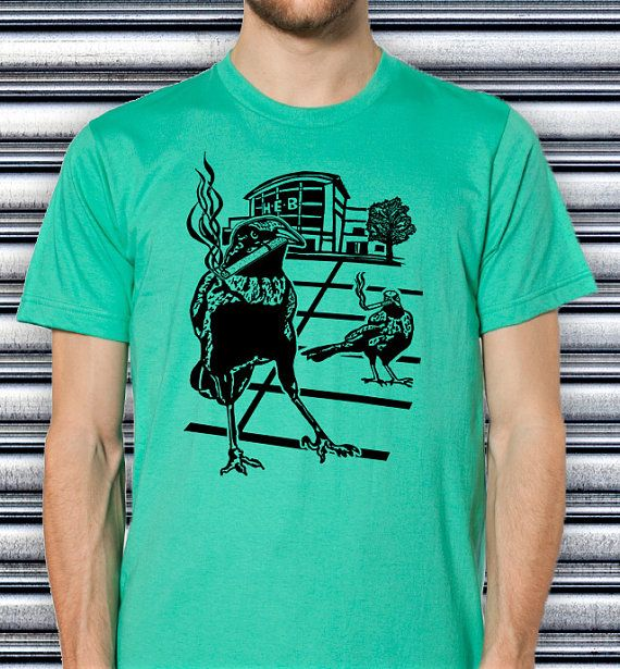 Men's Smoking Grackle Bird TShirt / Male Hipster Style Tee / Funny Stylish Screen Print Mens HEB Birds Weird Design Man Clothing / Satire
