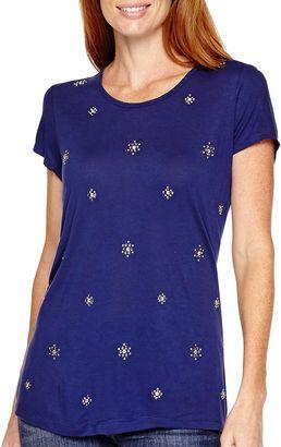 LIZ CLAIBORNE Liz Claiborne Short-Sleeve Beaded Scoopneck T-Shirt - Shop for women's T-shirt - Medieval Blue Mlti T-shirt