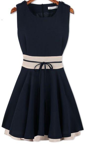 Chiffon navy dress