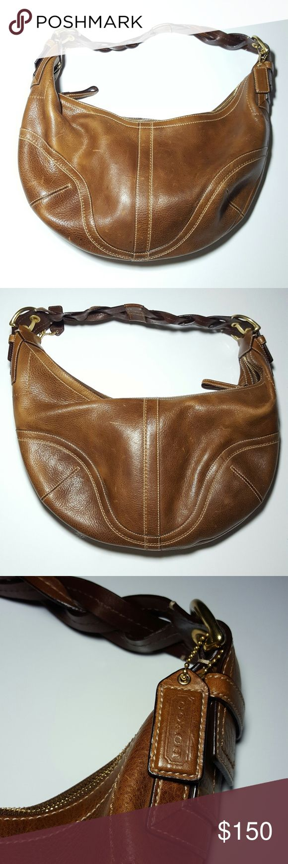 ♀ COACH womens full grain leather shoulder bag RARE COACH Bag Soho Braided Pebbled Leather Hobo shoulder Bag Purse Handbag  100% authentic, pre-owned Color: Tobacco Measurements: See photo  FEATURES: Full grain leather--the variations in the grain are characteristics of natural cowhide Ages beautifully and has some scratches from normal wear Interior has 3 pockets, one with a zipper  Check out my other Burberry, Zara, Nike, Under Armour, J Crew, Vince Camuto, TOPSHOP, Coach, Michael Kors…