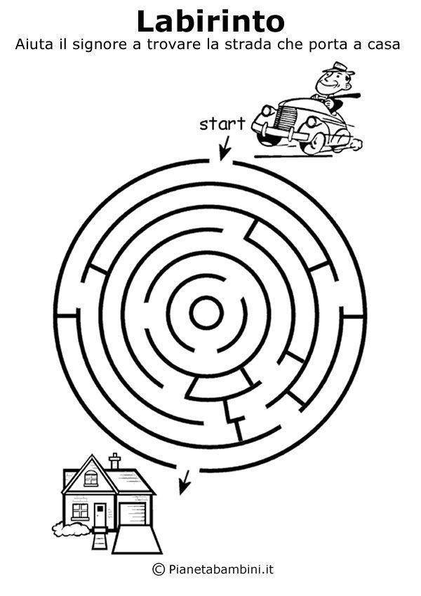 15 labirinti da stampare sia per bambini di 5 anni che per quelli di 4 e 6 anni, basta scegliere tra i disegni ordinati dal più semplice al più difficile