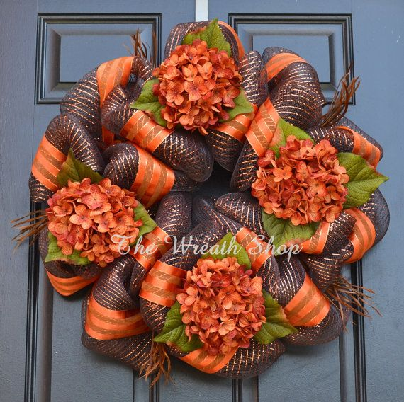 Fall Hydrangea Wreath - Fall Deco Mesh Wreath in Chocolate Copper Orange
