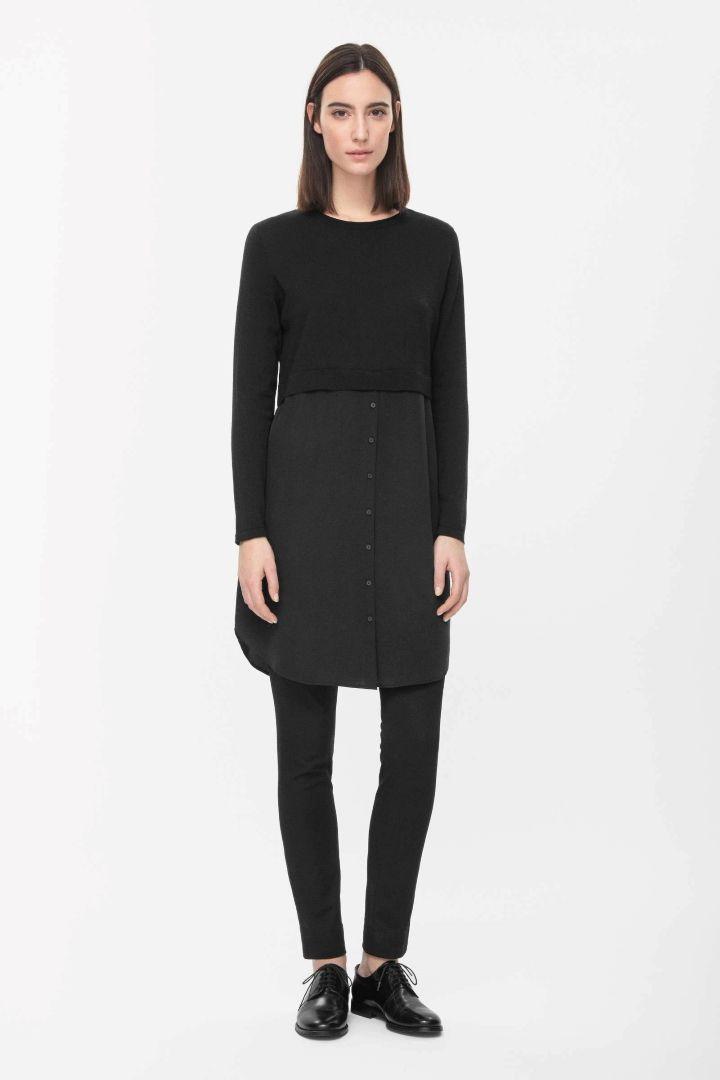 Silk skirt merino dress