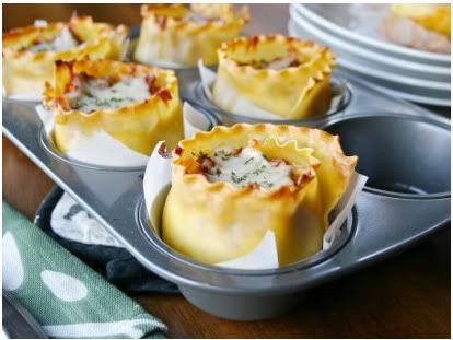 lasagna in a muffin pan