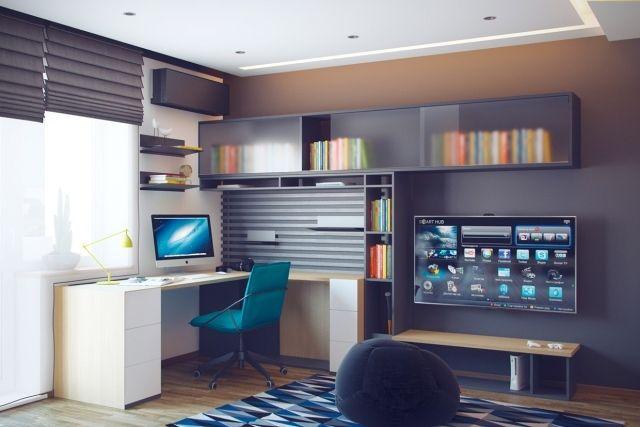 Jugendzimmer gestaltung für einen jungen   dominierende farbe grau ...