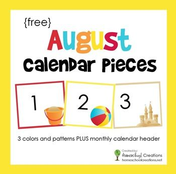 August pocket chart calendar pieces - free printable download including three picture cards and color patterns for classroom or homeschool use from homeschoolcreations.net