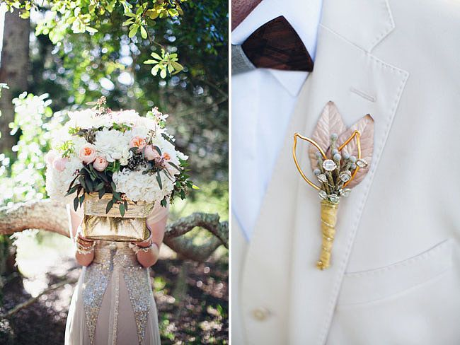 Glam meets romance. love the boutonniere instead of a flower.  Photos by Flora + Fauna via Green Wedding Shoes