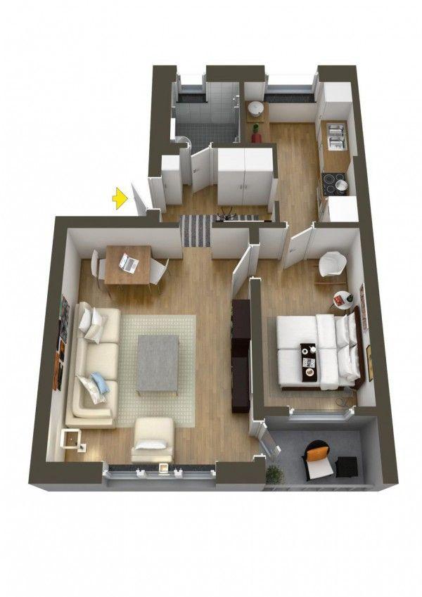 40 More 1 Bedroom Home Floor Plans