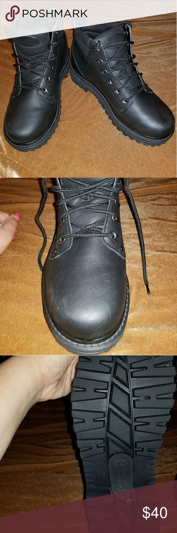 Men's Sketchers boots 10.5 extra wide Worn once, excellent condition. Left boot has small dent near toe due to being in storage (see pic). Leather upper, balance man made. Generously padded collar and lining. Skechers Shoes Boots