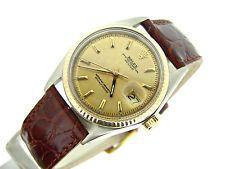 Para Hombre Rolex 2tone 14k gold/stainless Acero Datejust Fecha Reloj De Cuero