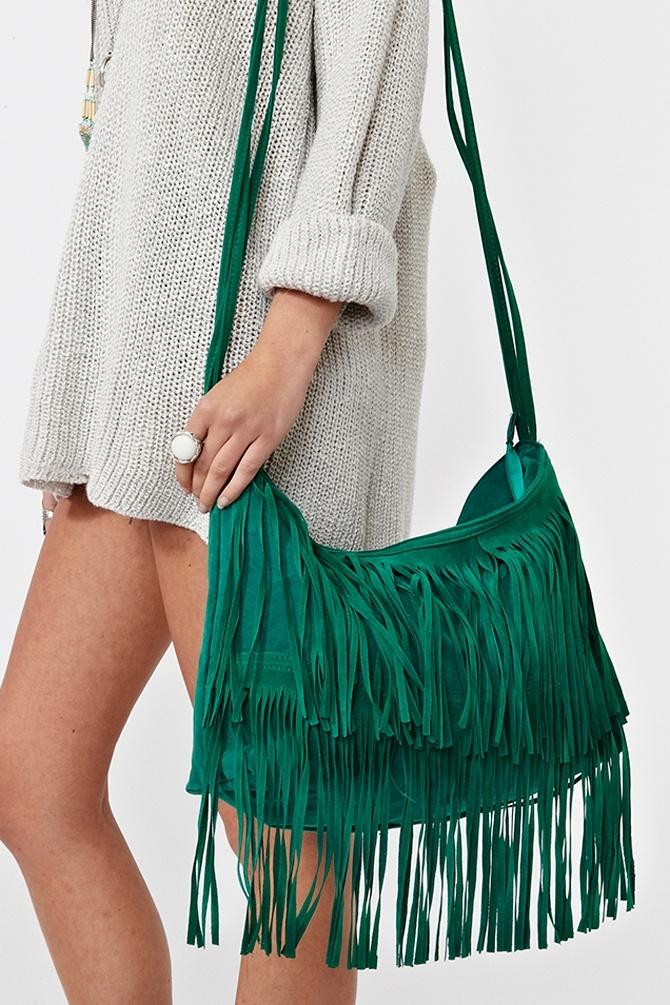 Sienna Fringe Bag - Emerald