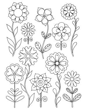 happy coloring easy flowers coloring book for adults by stefania miro - Flower Coloring Pages For Adults