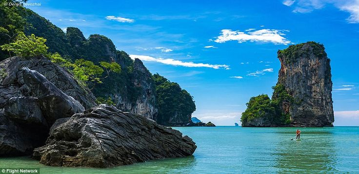 Thailand's Ao Nang comes in at number 45. The beach, in Krabi province in mainland Thailand, enjoys 200 days of sunshine per year, on average. The beach scored a 9 for sheer untouched beauty, an 8 for sand and water quality and a 6 for remoteness. Kensington Tours writes: 'Ao Nang Beach transports you to another world, painted in hues of perfect blues and golds. The waters rush up to your sand covered feet while you look in awe at the ivy covered cliffs and wonder how you made it to…