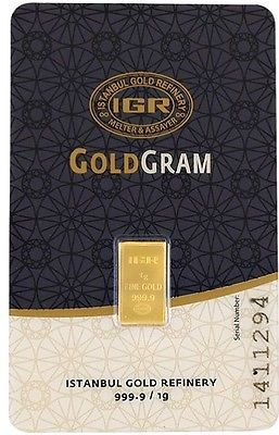 1 gram fine gold bar 999.9 24 karat international Gold certificated ASSAYER