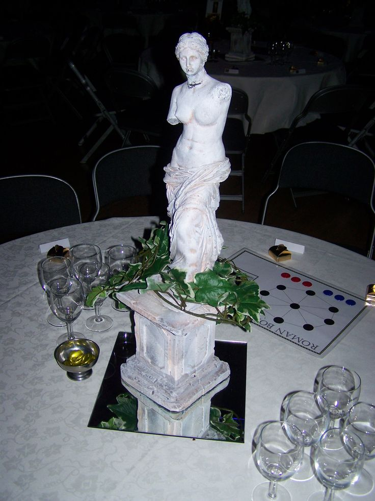Table centers grecian theme prom pinterest