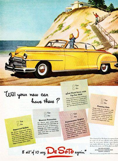 DeSoto Convertible Club Coupe 1946 - Mad Men Art: The 1891-1970 Vintage Advertisement Art Collection