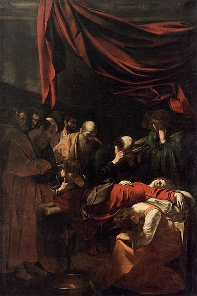 """""""The Death Of The Virgin"""" -- 1601-05 -- Caravaggio -- Oil on canvas -- The Louvre -- Paris, France"""