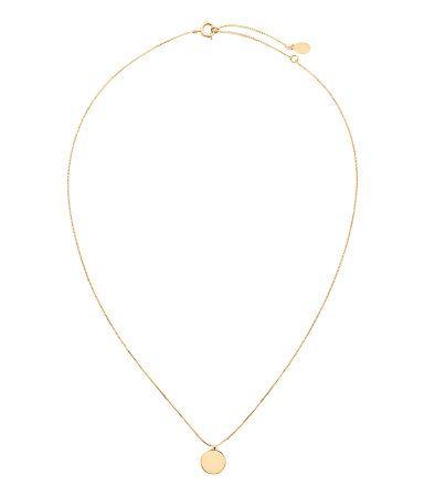 Goldfarben. PREMIUM QUALITÄT. Feine Halskette aus Metall mit flachem, rundem Anhänger. Die Kette hat 22 Karat Goldplattierung. Verstellbare Länge, 39-45 cm.