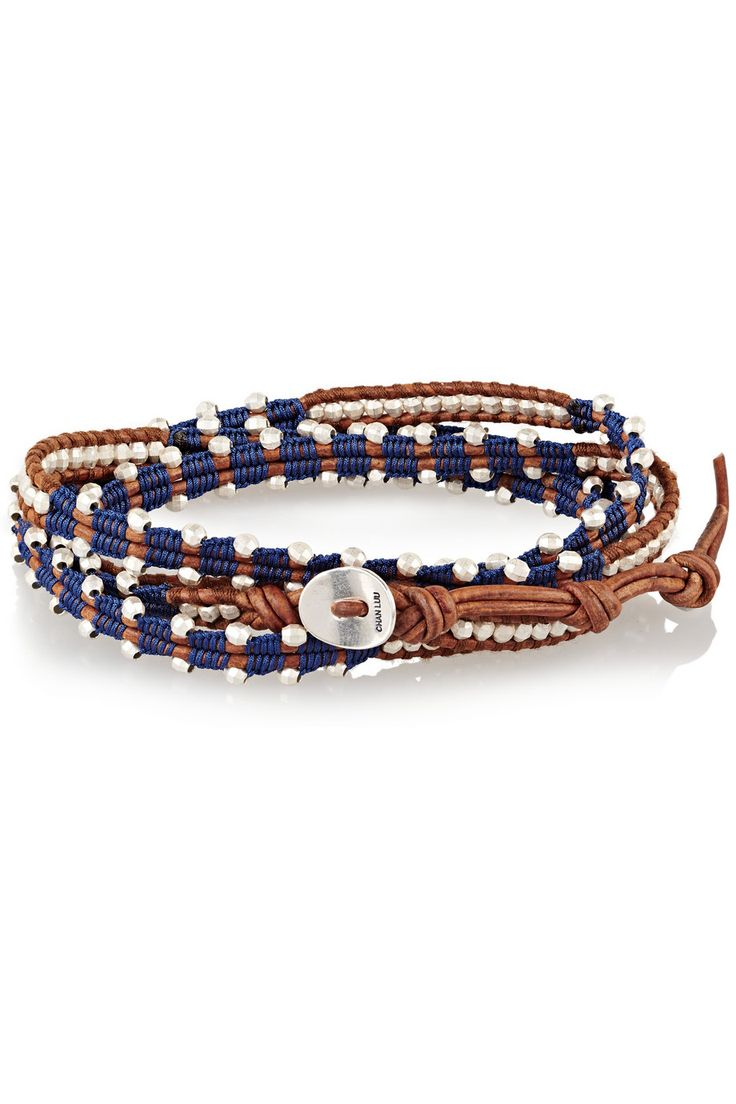 Chan Luu | Silver beaded and leather wrap bracelet