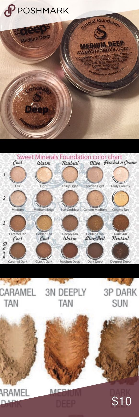 Flawless foundation! Dark complexion, neutral tone Flawless foundation!! All natural, not cakey! No fillers like bismuth, talc, and also paraben-free. Cruelty free. Better than Bare Minerals (4 hour wear) and this lasts up 18 hours (or longer)! I've been using this brand for 3 years and I will never switch to anything else. It's never cakey and because there's no bismuth or talc, it's never itchy and it feels light as air. This has the best coverage you'll ever see without feeling heavy…