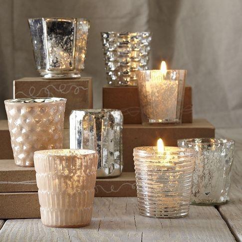 47 West Elm Silver Mercury Glass Wedding Votive Candle Holders