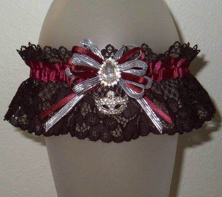 2017 Prom Garter Burgundy Maroon Black Lace Silver Rhinestone Crystal Masquerade Ball Mask Sparkle Bling Shimmer Glitz Mardi Gras Wedding by JazziGenShoppe on Etsy