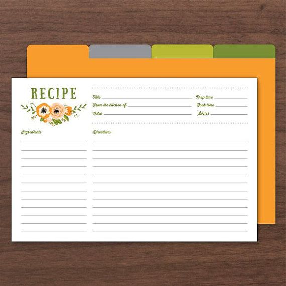 Editable recipe cards recipe card printable recipe card for bridal shower 4x6 recipe cards for Editable recipe card