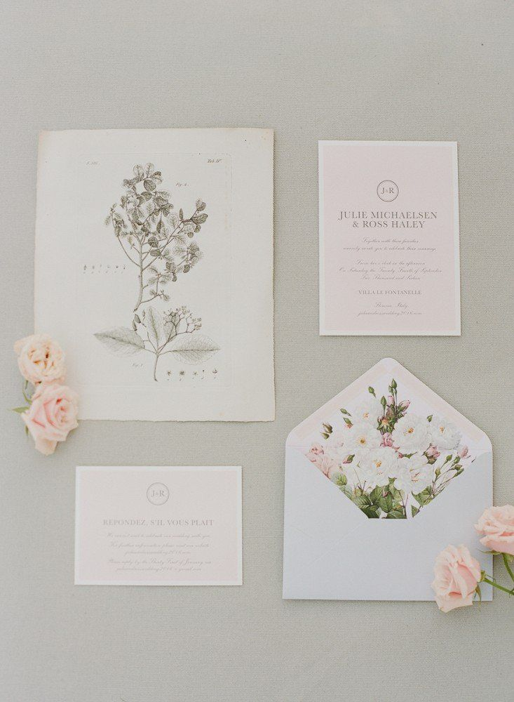 Pink vintage fine art invite stationary suite