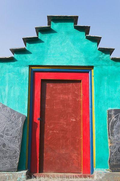 Colorful door of Tibetan house, Bamei, Sichuan-Tibet, China
