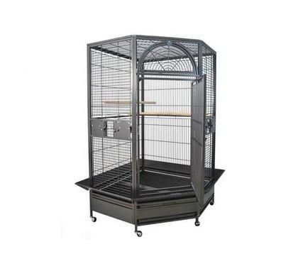 Oiseaux - Cages Perroquet - CAGE D'ANGLE POUR PERROQUET DENVER ANTHRACITE