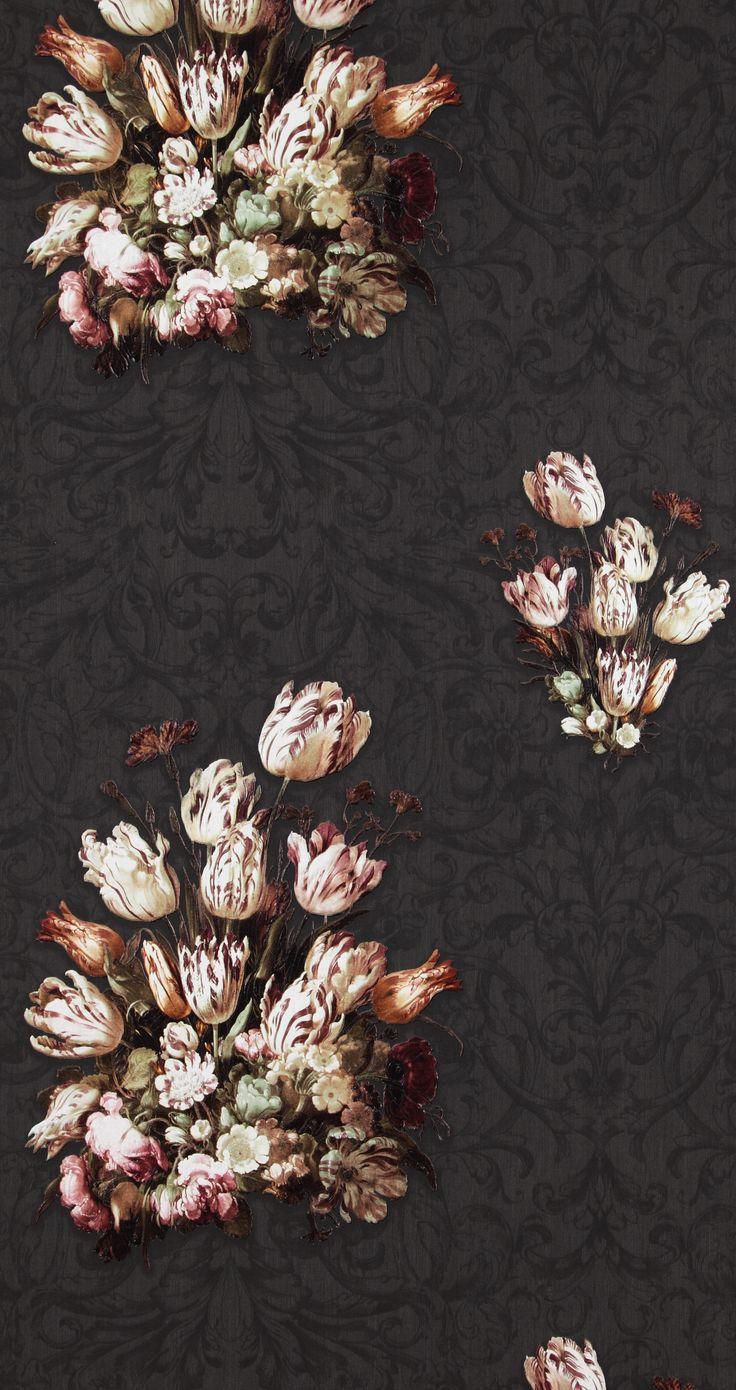 Dutch Masters inspired wallpaper in a beautiful rich, dark brown shade.