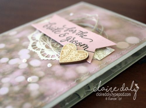 Stampin Up Wedding Card using Falling for You Stamp Set and Falling in Love DSP from Occasions 2017 Catalogue. Card by Claire Daly, Stampin Up Demonstrator Melbourne Australia.
