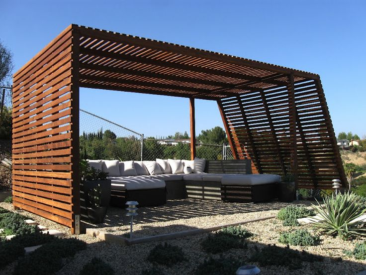 Pergola - 16 x 12 Modern Style - Clear Redwood, Shade Structure
