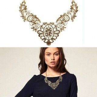 Vintage Lace Luxury Metal Capillament Short Necklaces