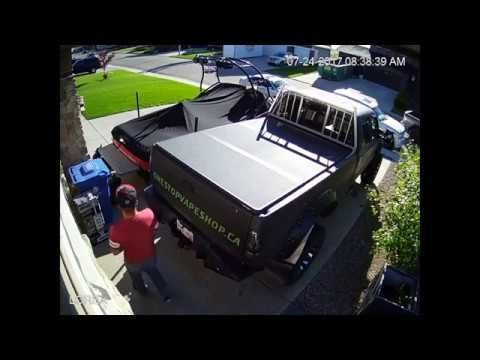 douche bags trying to jack my friends truck (video from his house)