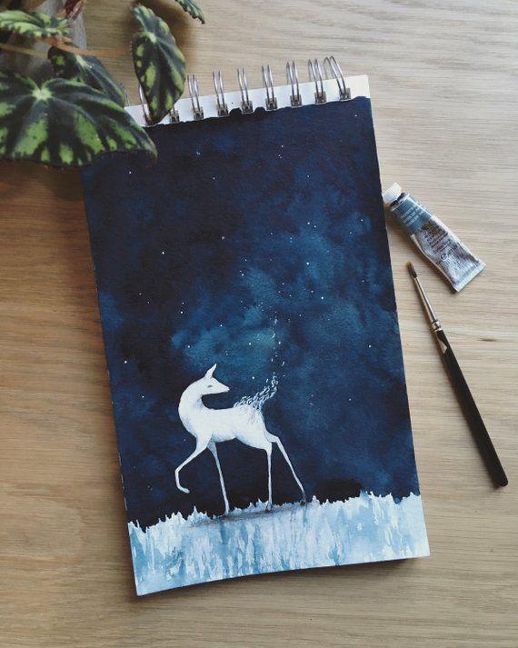 Deer In Starry Night Watercolor Painting Original Artwork Dark