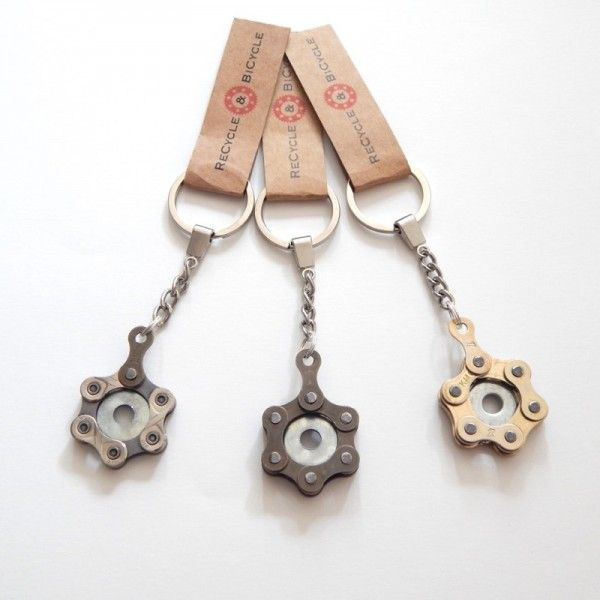 Quirky bike chain keyring by ReCycle And Bicycle! Perfect for any cyclist's keys.