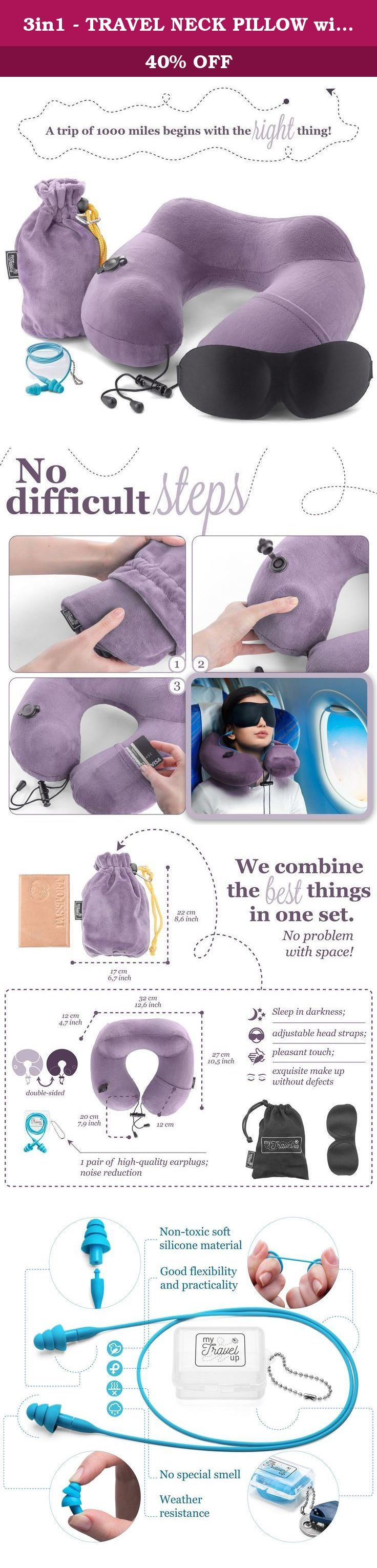 3in1 - TRAVEL NECK PILLOW with an excellent 3D SLEEP MASK, 1 pair of HIGH- FIDELITY EARPLUGS and a compact CARRY BAG - all the best things to relax your mind - MyTravelUp (Light Lilac). 3 IN 1 SET - TRAVEL NECK PILLOW with an excellent 3D SLEEP MASK and 1 pair of HIGH- FIDELITY EARPLUGS in a compact CARRY BAG According to the International Civil Aviation Organization 3.5 billion people fly every year. Among them 2 billion 333 million people have current neck pain. Our little team also…