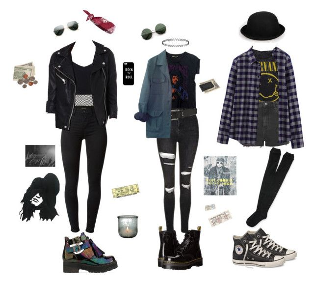 """""""rockers"""" by collins-emilymae on Polyvore featuring Dr. Martens, To Be Announced, J Brand, Fanpac, Topshop, Uniqlo, River Island, Converse, Maje and Motel"""