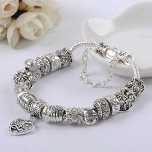 Nueva plata plateó el encanto del grano cristales corazón del amor gotea mujeres cadena de la serpiente Fit Pandora pulseras y brazaletes de la joyería DIY(China (Mainland))