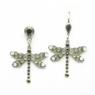 These delicate silver dragonfly earrings are adorned in earth-tones of gray, gold and white. This adorable pair is sure to add subtle sparkle to any look! Pair with matching dragonfly necklace! Made with SWAROVSKI ELEMENTS.