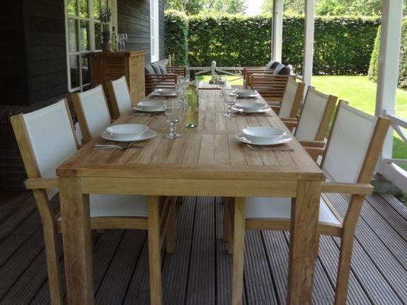 Teak tuinset, tuintafel 95x215 met 6 batyline tuinstoelen
