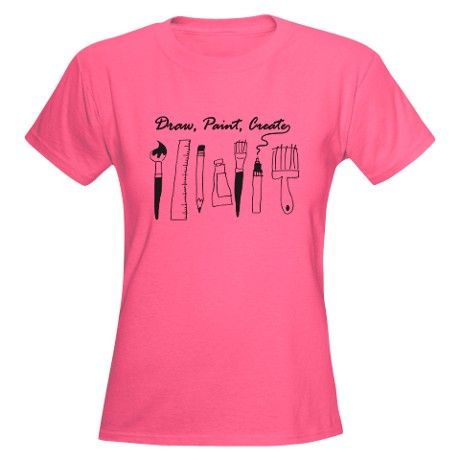 Draw, Paint, Create on a variety of women's and men's t-shirts and other products. Cute gift for any artist, designer, or creative person! #artist #art #designer